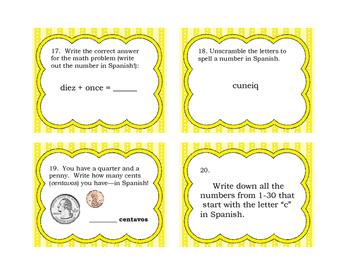 Task Cards for Spanish Numbers 1- 30 (Los numeros en espanol)