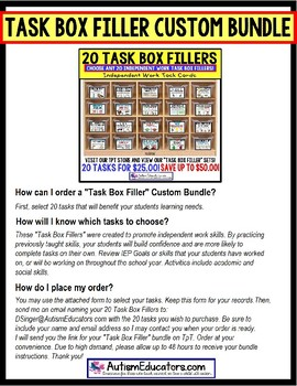 Task Cards for Special Education CUSTOM DISCOUNT BUNDLE Directions To Order