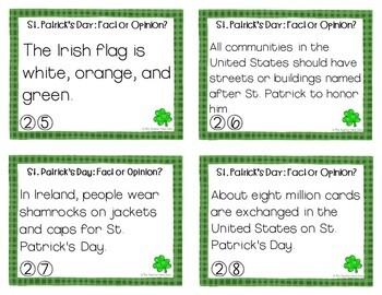 Task Cards for St. Patrick's Day Fact or Opinion for 3rd - 5th Grade