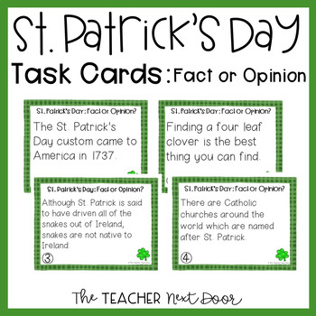 Task Cards for St. Patrick's Day Fact or Opinion for 3rd -