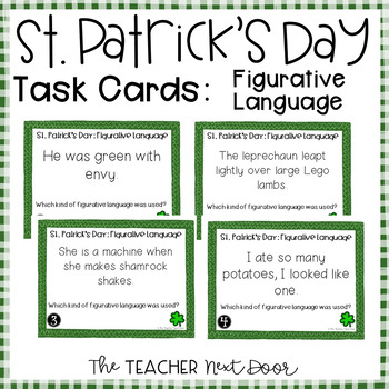 Task Cards for St. Patrick's Day Figurative Language for 3rd - 5th Grade