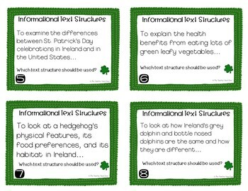 Task Cards for St. Patrick's Day Informational Text Structures for 3rd - 5th