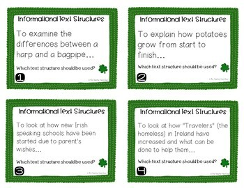 Task Cards for St. Patrick's Day Informational Text Structures