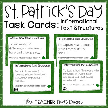 Task Cards for St. Patrick's Day Informational Text Struct