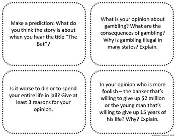 """Task Cards for the Short Story """"The Bet"""" by Anton Chekhov"""