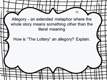 """Task Cards for """"The Lottery"""" by Shirley Jackson Google Drive Edition"""