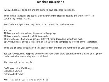 """Digital Task Cards for """"The Lottery"""" by Shirley Jackson Google Drive Edition"""