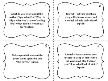 """Task Cards for """"The Raven"""" by Edgar Allan Poe"""