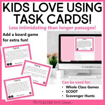 Task Cards for Theme for 4th - 5th Grade | Theme
