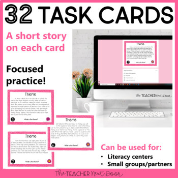 Task Cards for Theme for 4th & 5th Grades: Print and Digital | Distance Learning