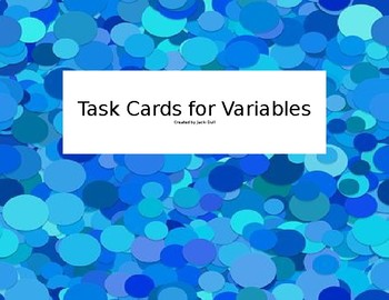 Task Cards for Variables