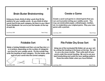 Task Cards for Word Study