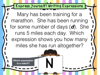 4th Gr. Task Cards for Writing Expressions Using Word Problems w/ Coded Answer