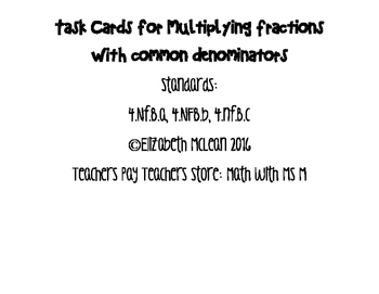 Task Cards for multiplying fractions with common denominator