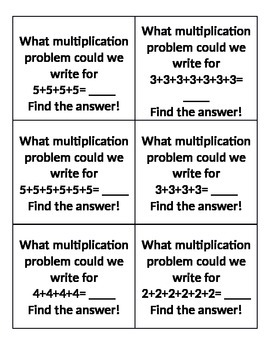 Task Cards for teaching multiplication through repeated addition