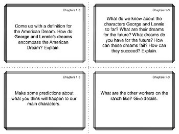 Task Cards for the Novella Of Mice and Men by John Steinbeck