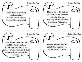 Task Cards for the Play Romeo and Juliet by William Shakespeare