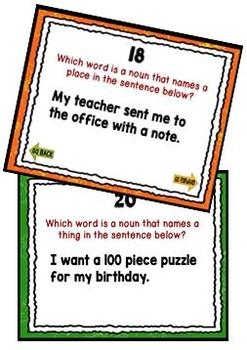 Task Cards for the Promethean Board ~ Nouns