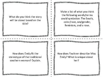 """Task Cards for the Short Story  """"A Rose for Emily""""  by William Faulkner"""
