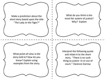 "Task Cards for the Short Story ""The Lady or the Tiger?"" by Frank R. Stockton"