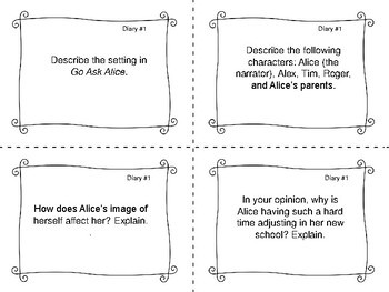 Task Cards for the book Go Ask Alice