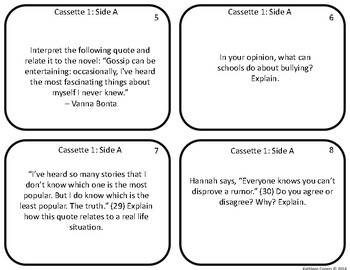 Task Cards for the novel 13 Reasons Why by Jay Asher
