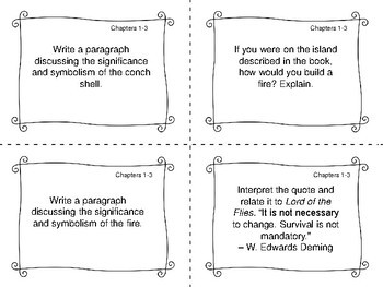 Task Cards for the novel Lord of the Flies by William Golding