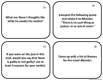 Task Cards for the Novel Monster by Walter Dean Myers