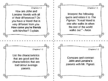 Task Cards for the novel The Pigman by Paul Zindel
