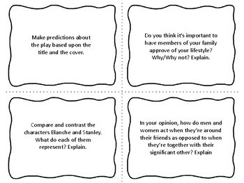 Task Cards for the play A Streetcar Named Desire by Tennessee Williams
