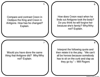 Task Cards for the play Antigone by Sophocles