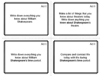 Task Cards for the play Macbeth by William Shakespeare