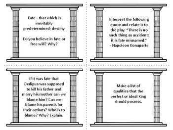 Task Cards for the play Oedipus the King by Sophocles