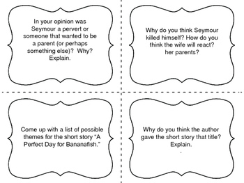"""Task Cards for the short story  """"A Perfect Day for Bananafish""""  by JD Salinger"""