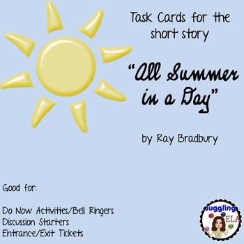 """Task Cards for the short story """"All Summer in a Day"""" by Ra"""
