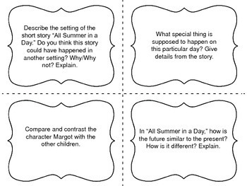 """Task Cards for the short story """"All Summer in a Day"""" by Ray Bradbury"""