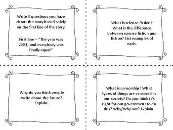 "Task Cards for the short story ""Harrison Bergeron"" by Kurt Vonnegut"