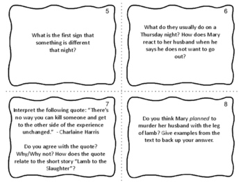 """Task Cards for the short story """"Lamb to the Slaughter"""" by Roald Dahl"""