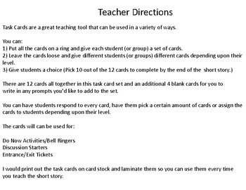 """Task Cards for the Short Story """"Sucker"""" by Carson McCullers"""