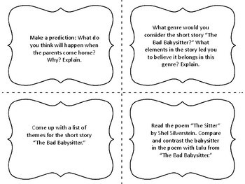 """Task Cards for the Short Story """"The Bad Babysitter"""" by R.L. Stine"""