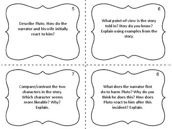 """Task Cards for the Short Story """"The Black Cat"""" by Edgar Allan Poe"""