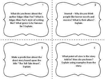 "Task Cards for the short story ""The Tell-Tale Heart"" by Edgar Allan Poe"