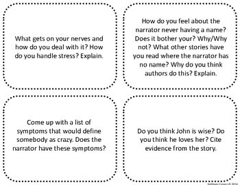"""Task Cards for the short story """"The Yellow Wallpaper"""""""