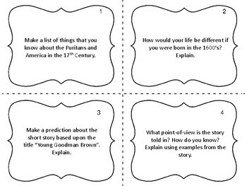 """Task Cards for the short story """"Young Goodman Brown"""" by Nathaniel Hawthorne"""