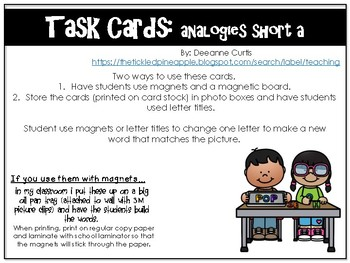 Task Cards-short a