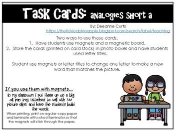Task Cards-short a