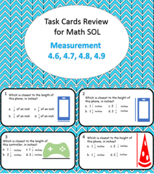 Task Cards to Review for Math SOL Measurement 52 Cards!!!