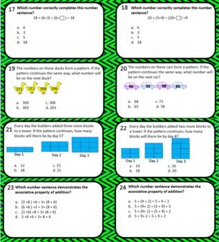 Task Cards to Review for Math SOL Patterns, Functions & Algebra