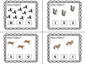 Task Cards using realistic animals Numbers 0-10