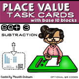 Place Value Task Cards : Subtraction with Base 10 Blocks